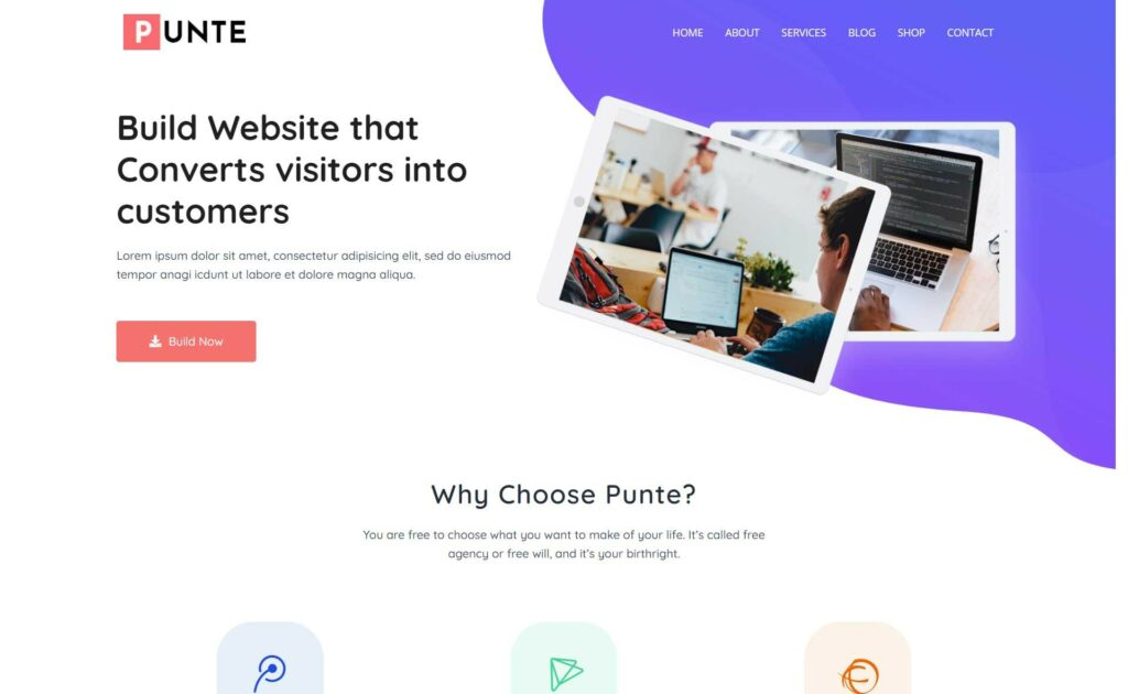 Punte Free Multipurpose WordPress theme