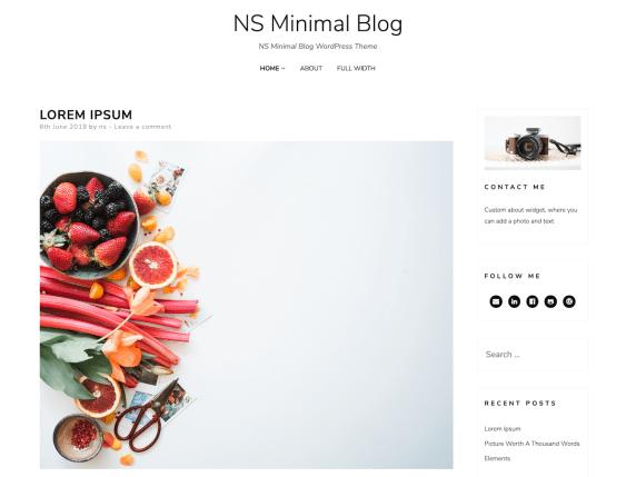NS Minimal Free Minimalist WordPress Themes