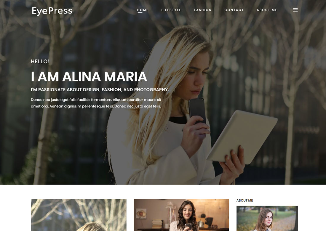 Eyepress personal WordPress Theme free