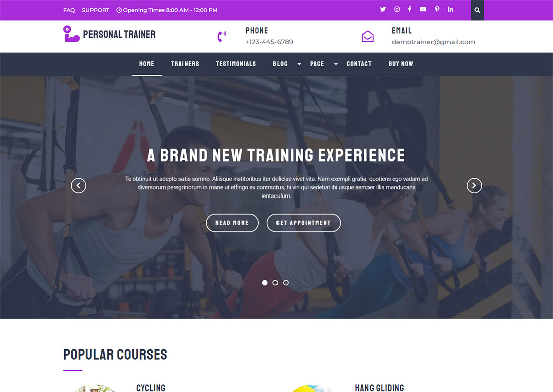Personal Trainer personal WordPress Theme free