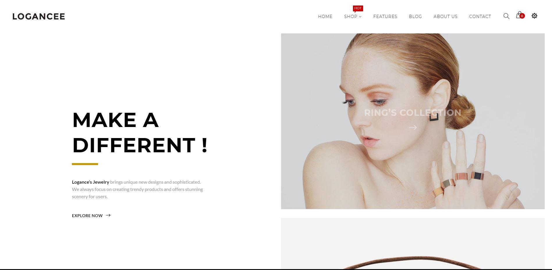 Logancee Shopify Jewelry theme
