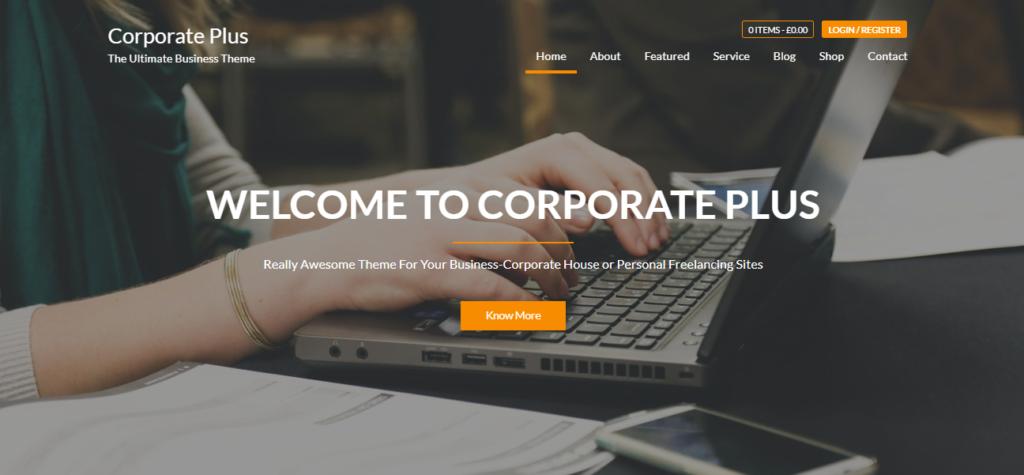 Free parallax WordPress theme