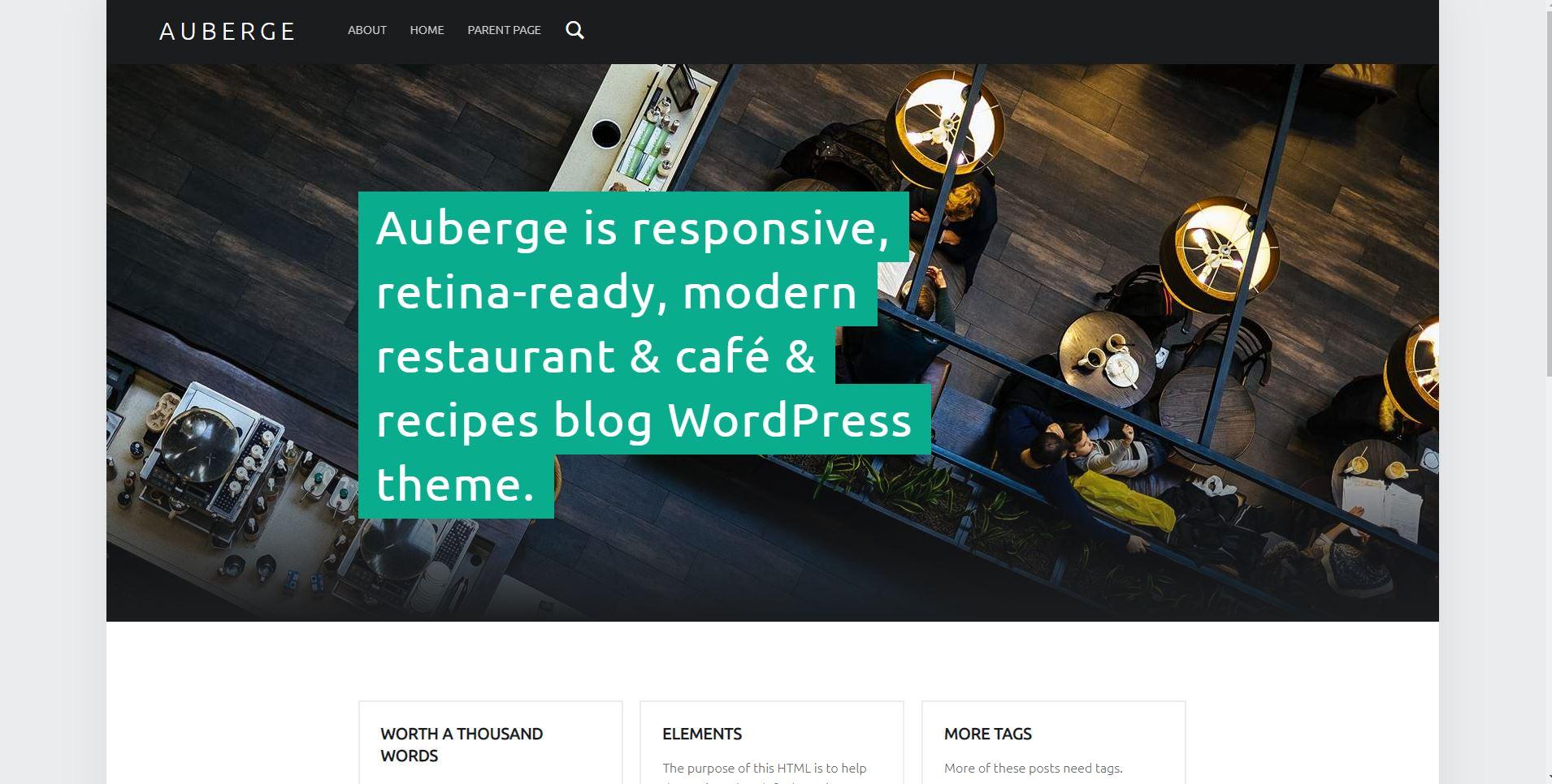 Auberge wordpress restaurant theme free