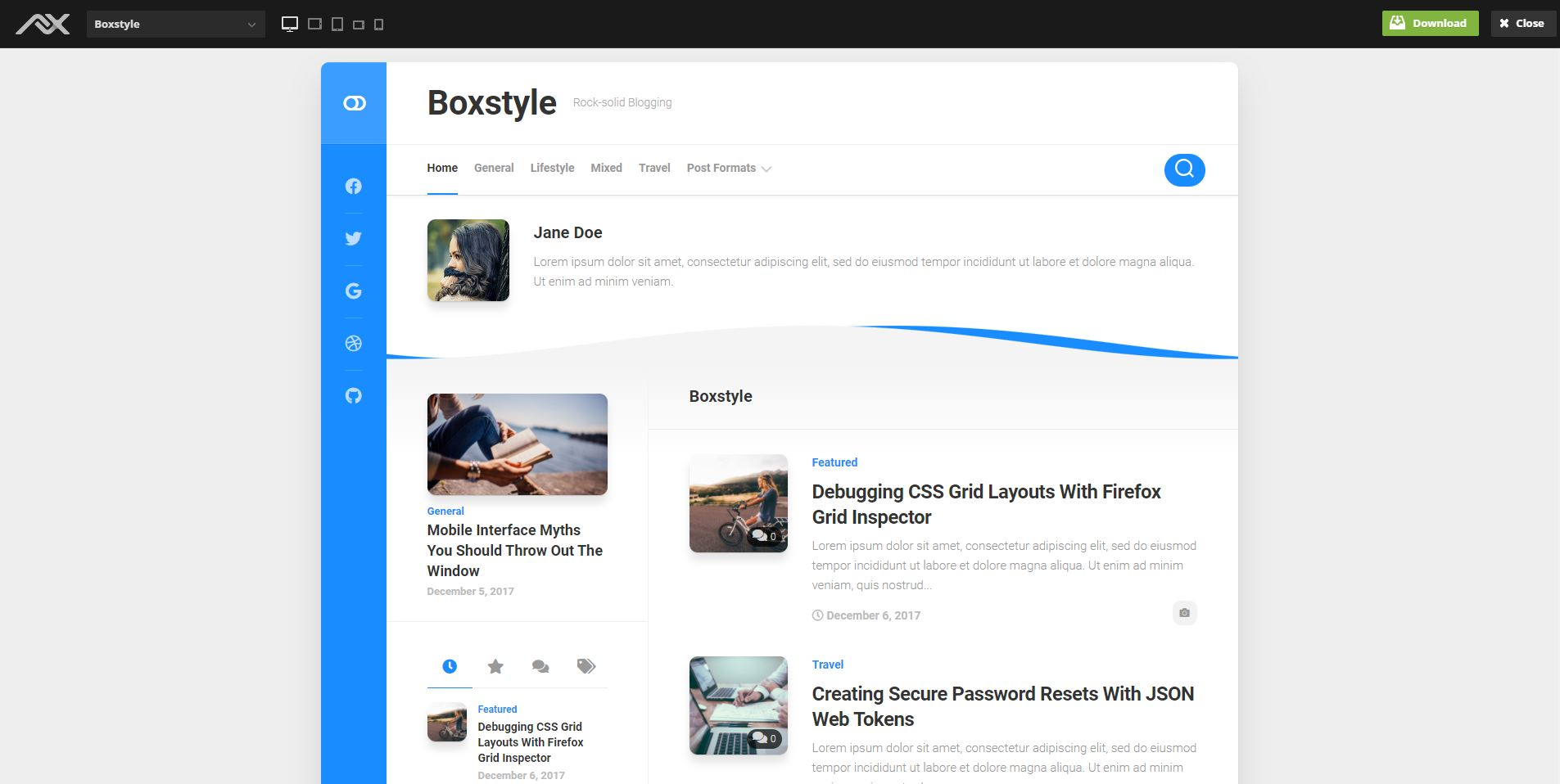 Boxstyle personal WordPress Theme free