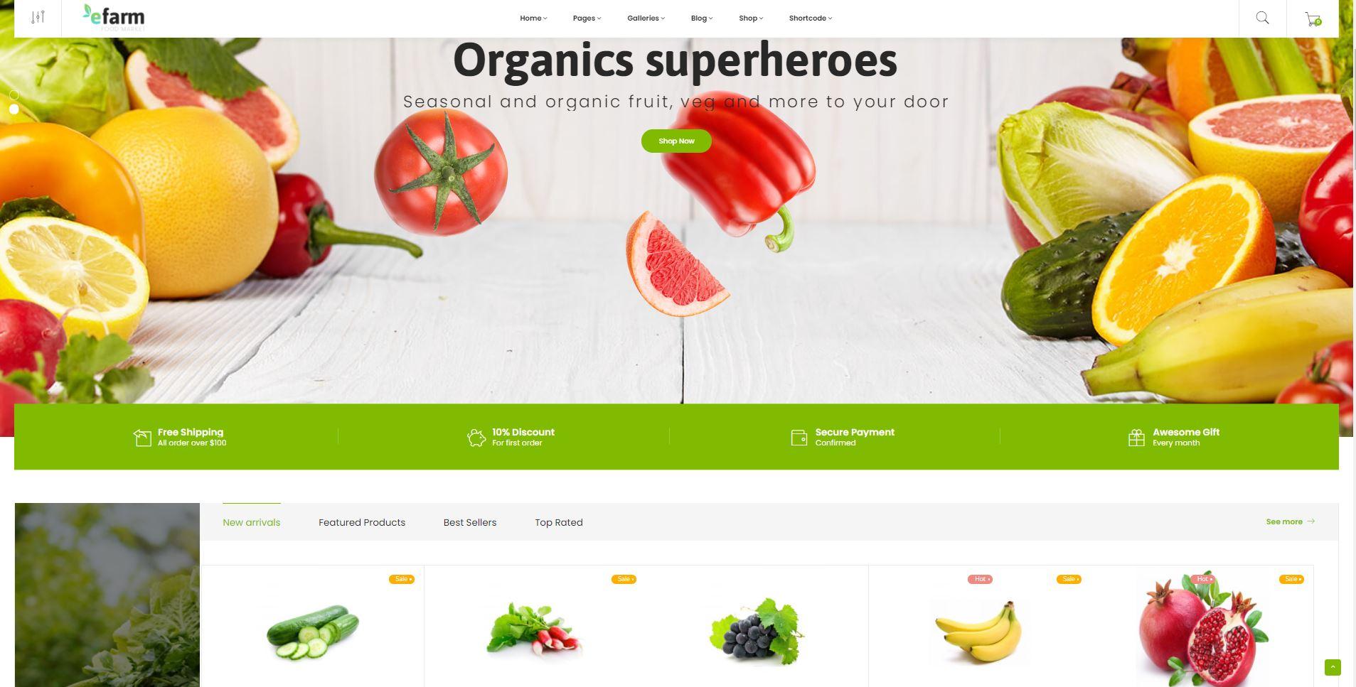 eFarm Supermarket WordPress marketplace themes