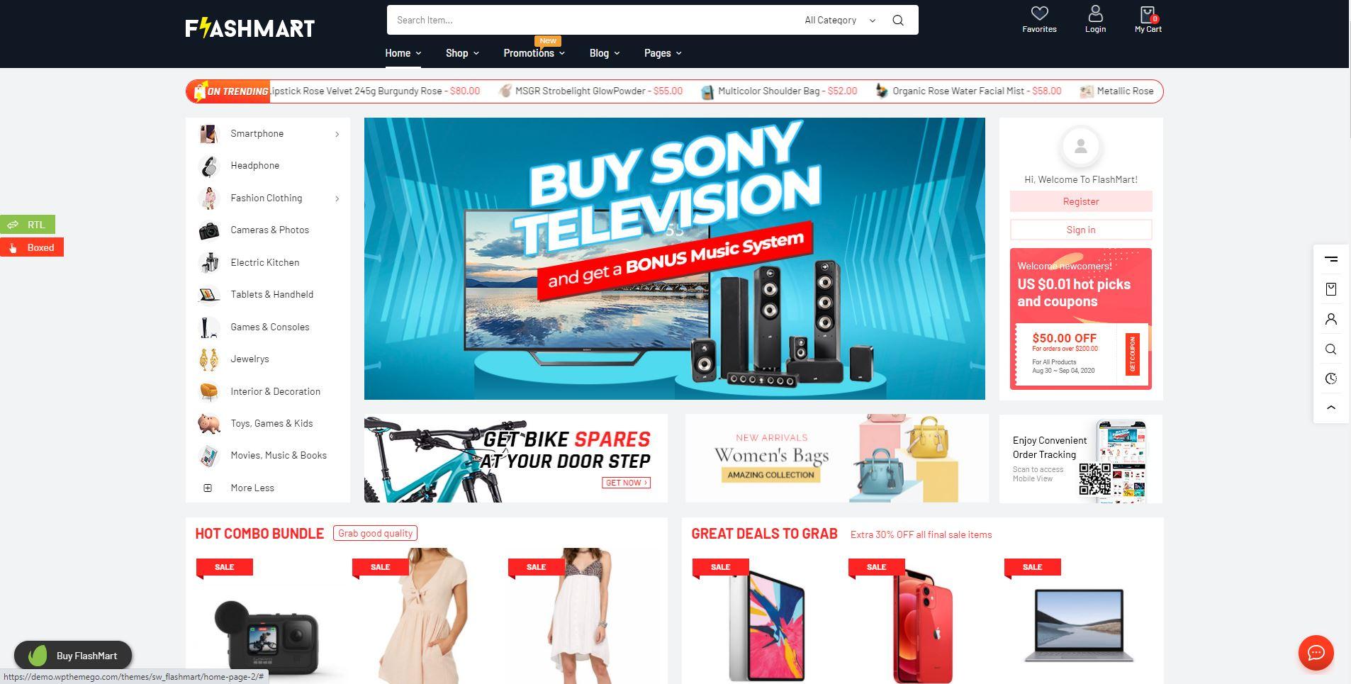 FlashMart electronics WooCommerce themes