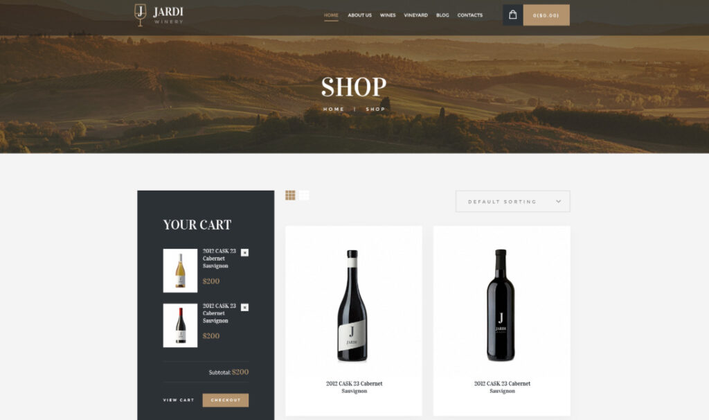 Jardi wine shop Woocommerce themes