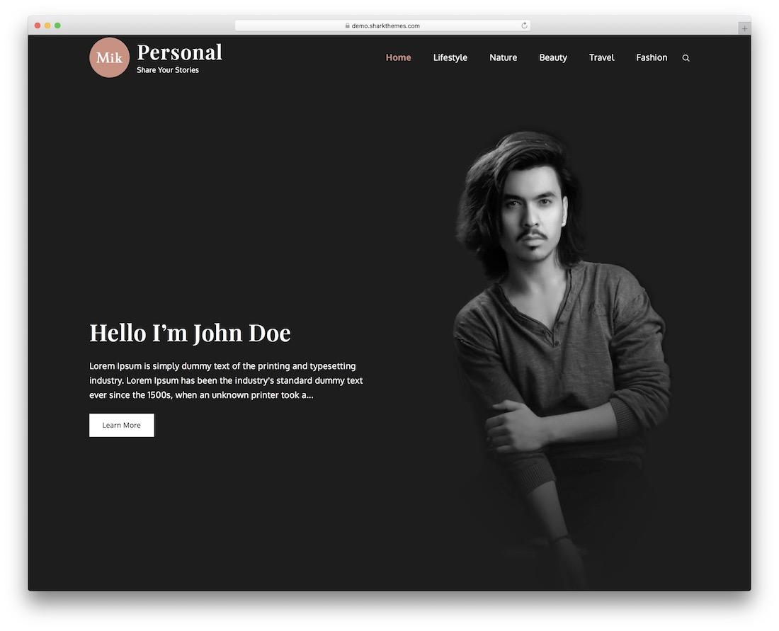 Mik Personal personal WordPress Theme free