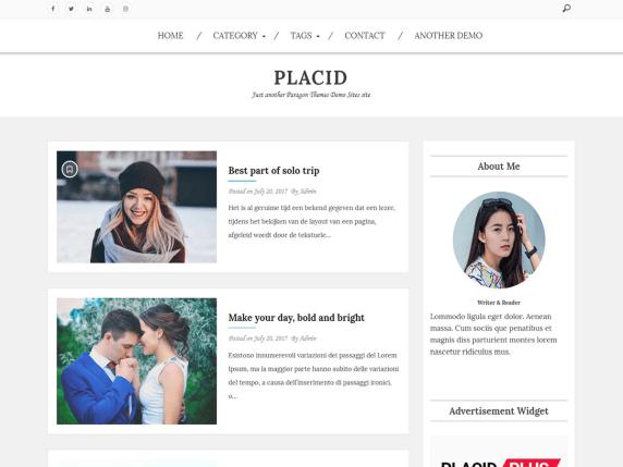 Placid free wordpress blog themes