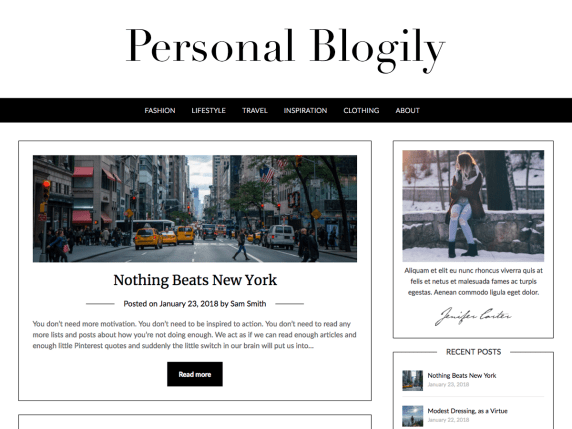 Personal Blogily personal WordPress Theme free