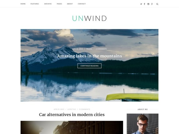 SiteOrigin Unwind Free WordPress  themes