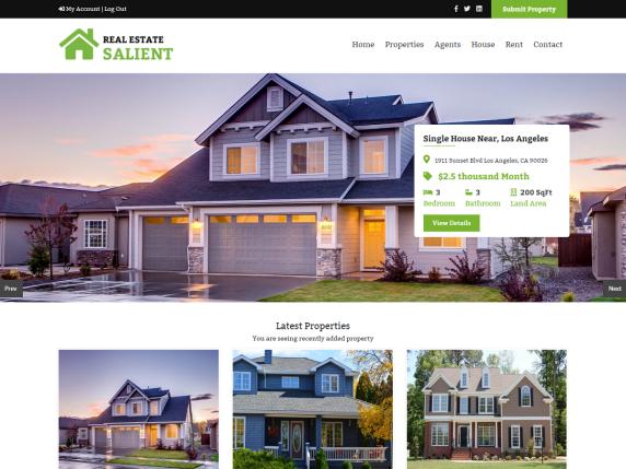 Real Estate Salient Free estate WordPress themes