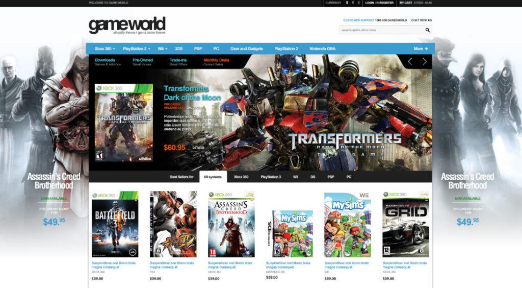 Game store theme Shopify