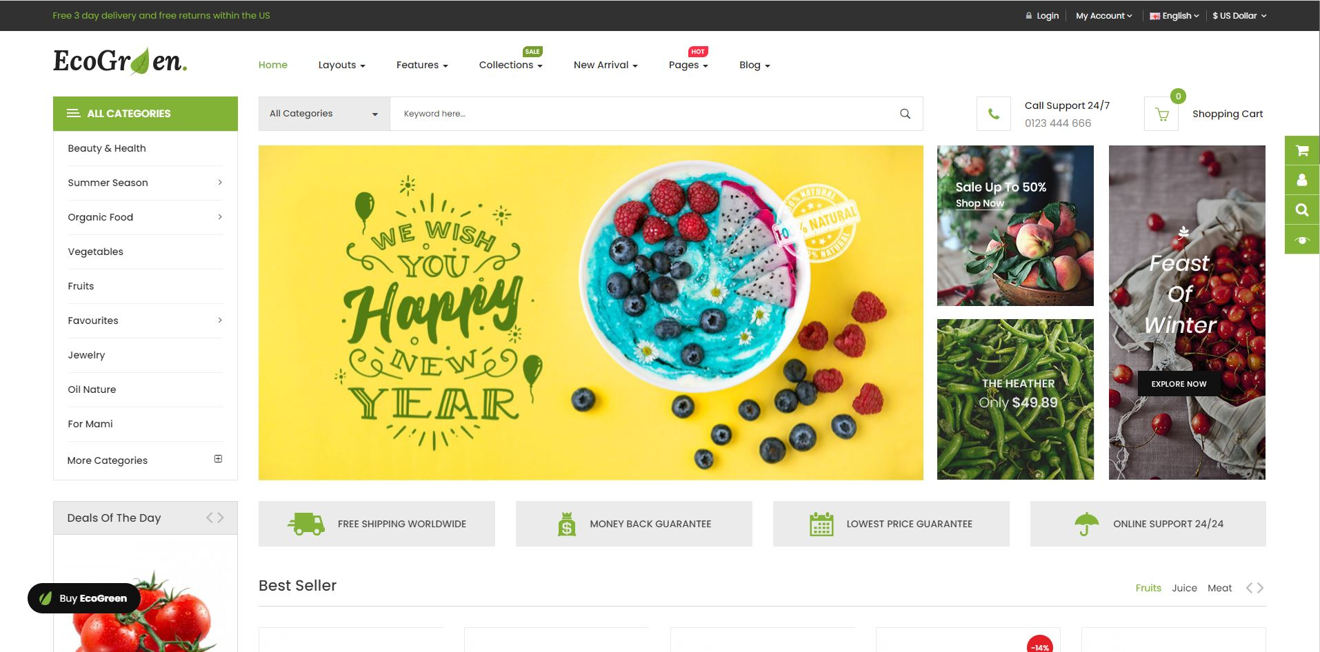Fruits and vegetables opencart theme