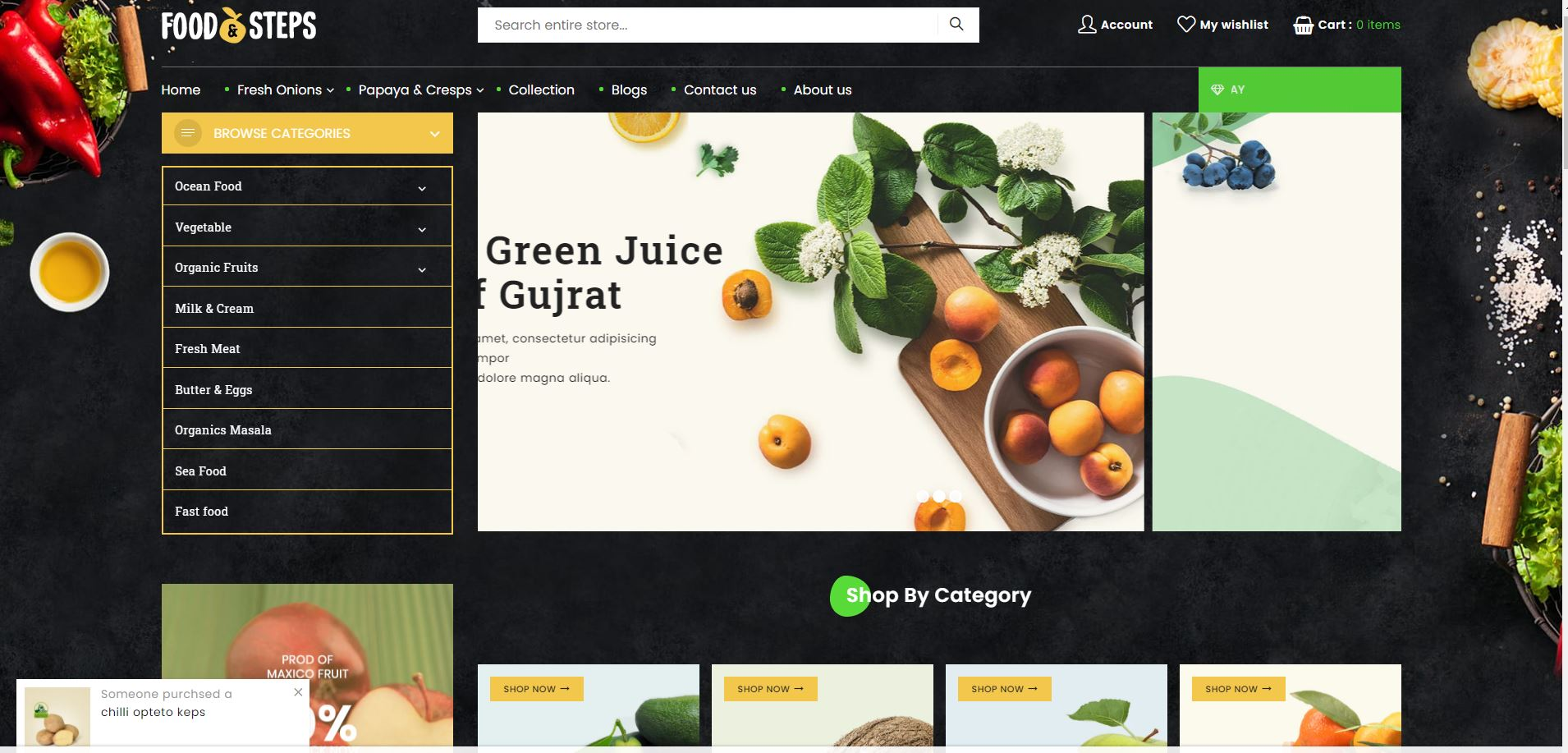 Food Steps Fruits and vegetables Shopify Theme
