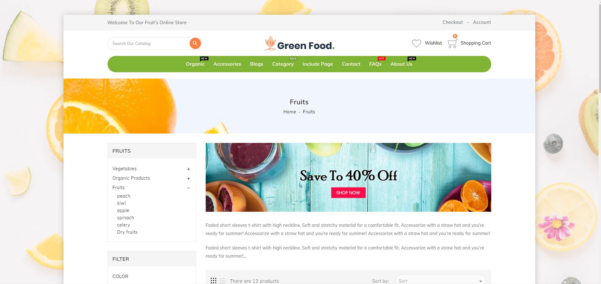 Greenfood Organic Store Fruits and vegetables Shopify Theme