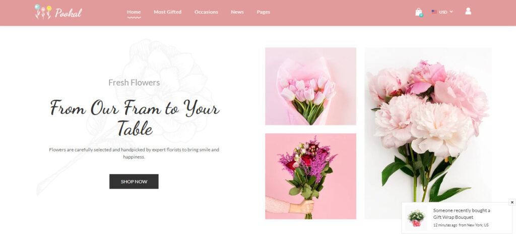 flowers theme shopify