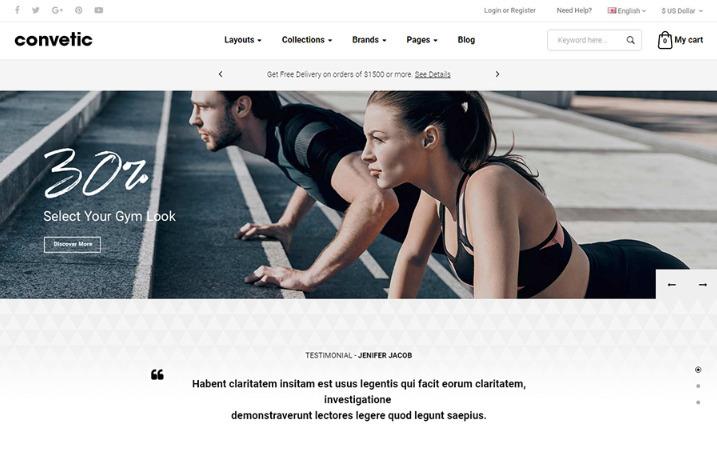 Opencart sport store theme
