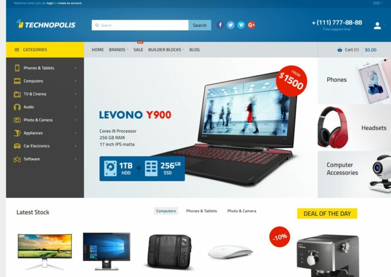 Opencart computer store theme