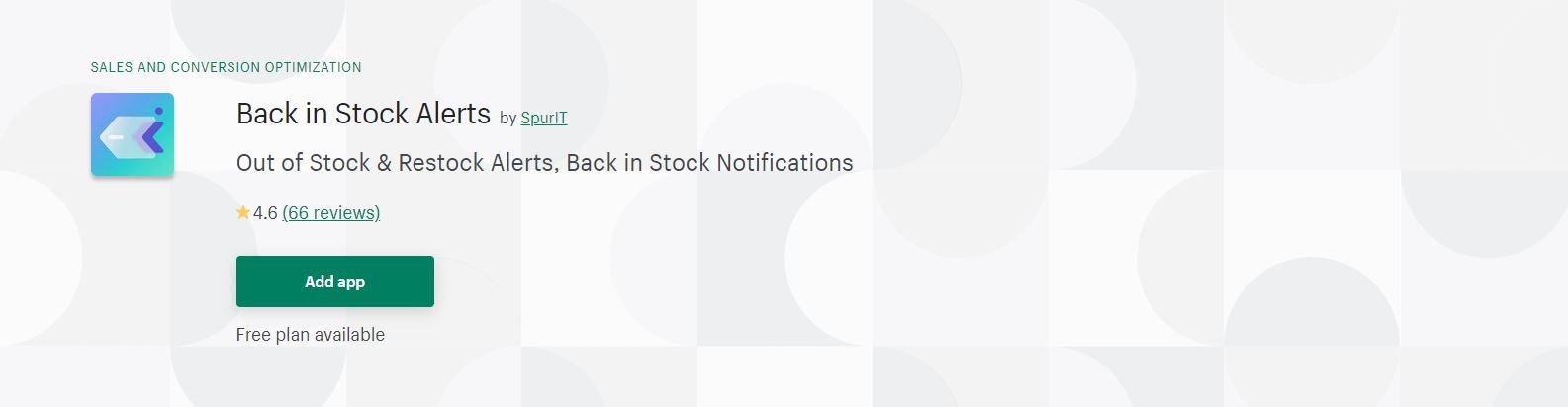 Back in stock notification app