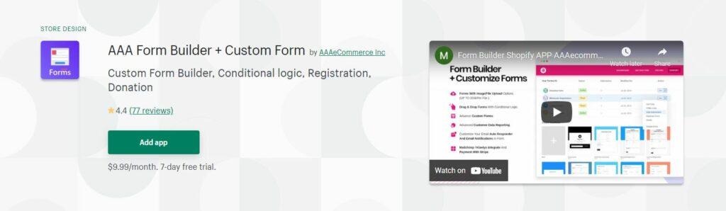 AAA Form Builder + Custom Form