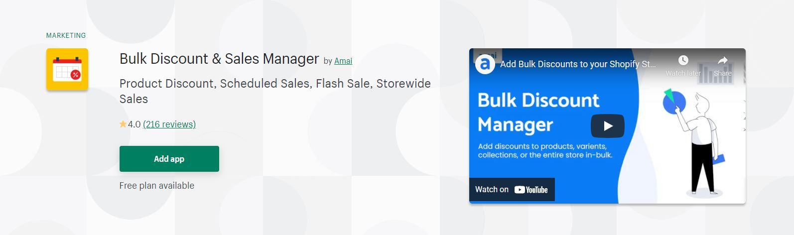 Bulk Discount & Sales Manager