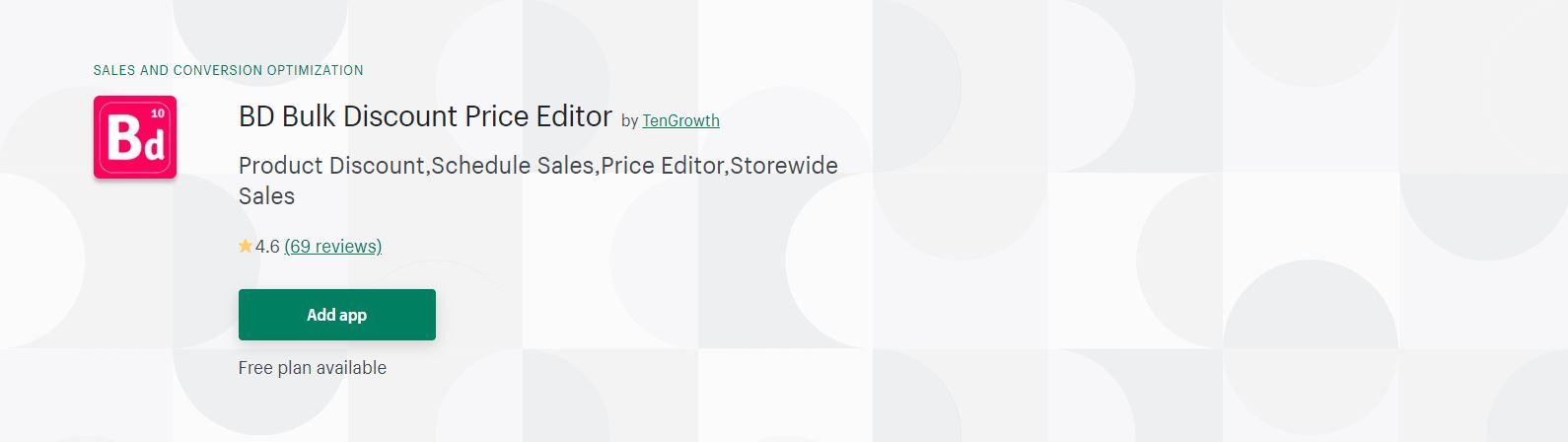 BD Bulk Discount Price Editor