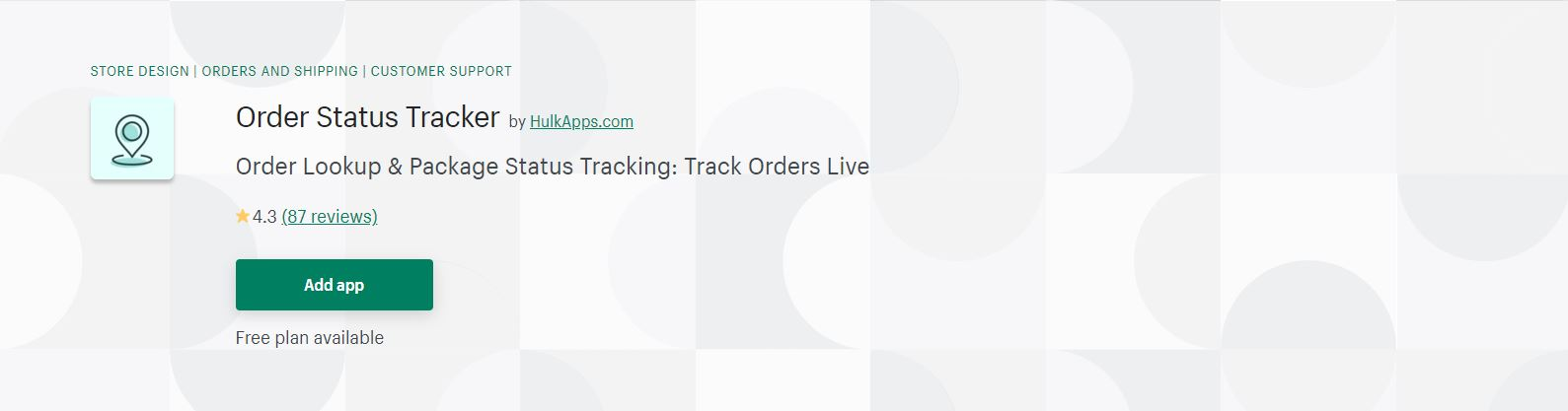 Shopify order tracking app