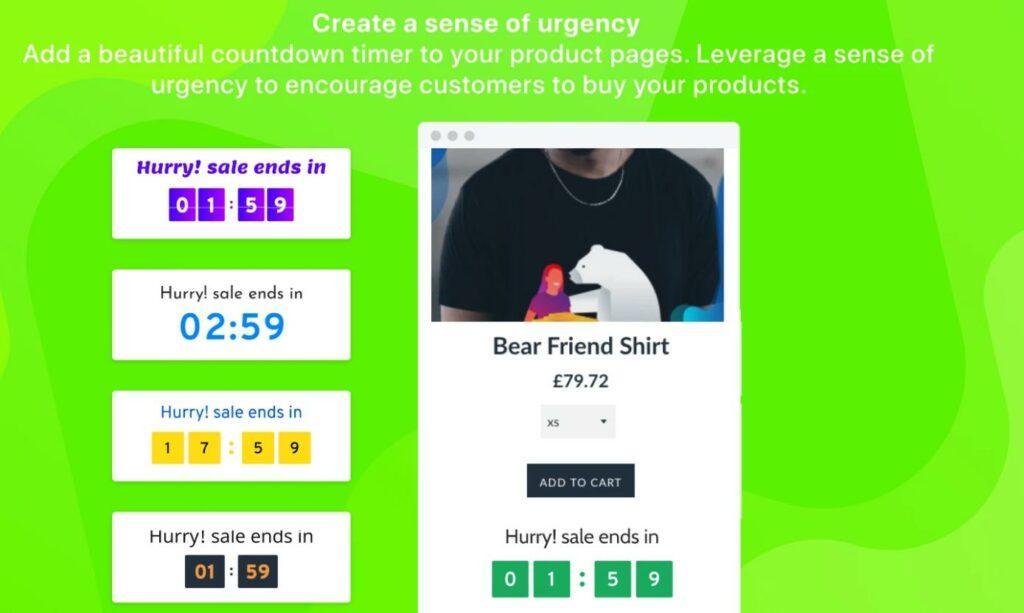 Shopify countdown timer app display