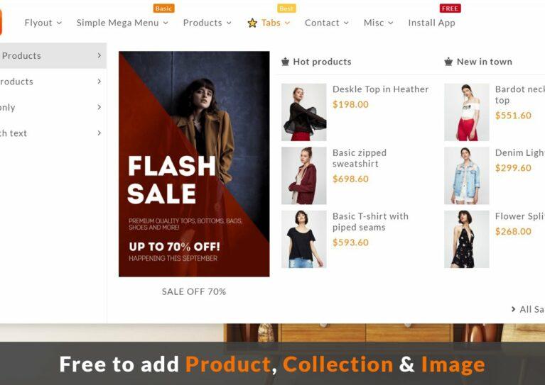 Shopify menu app