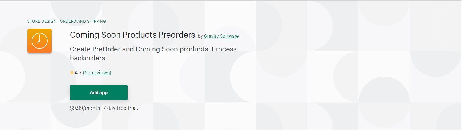 Shopify Pre order app