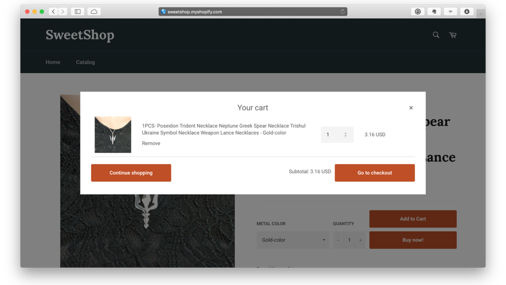 Shopify checkout app