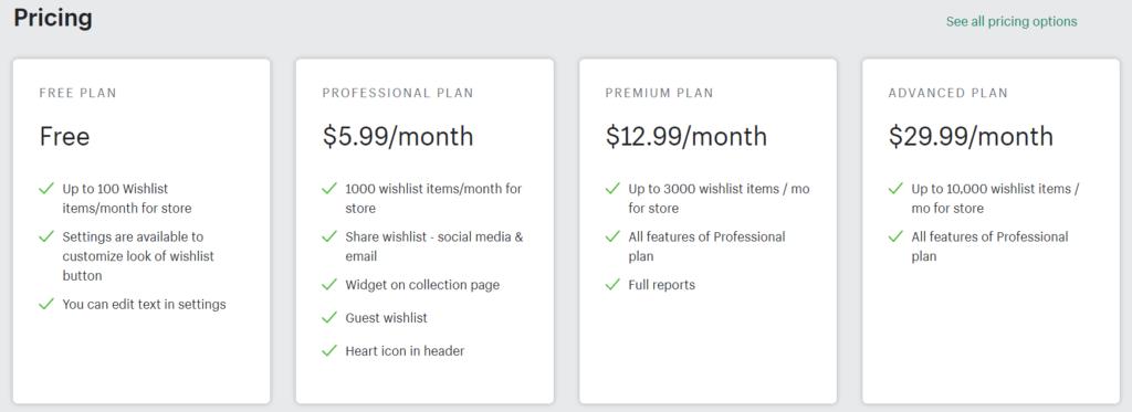Wishlist ‑ Wishify Pricing Options