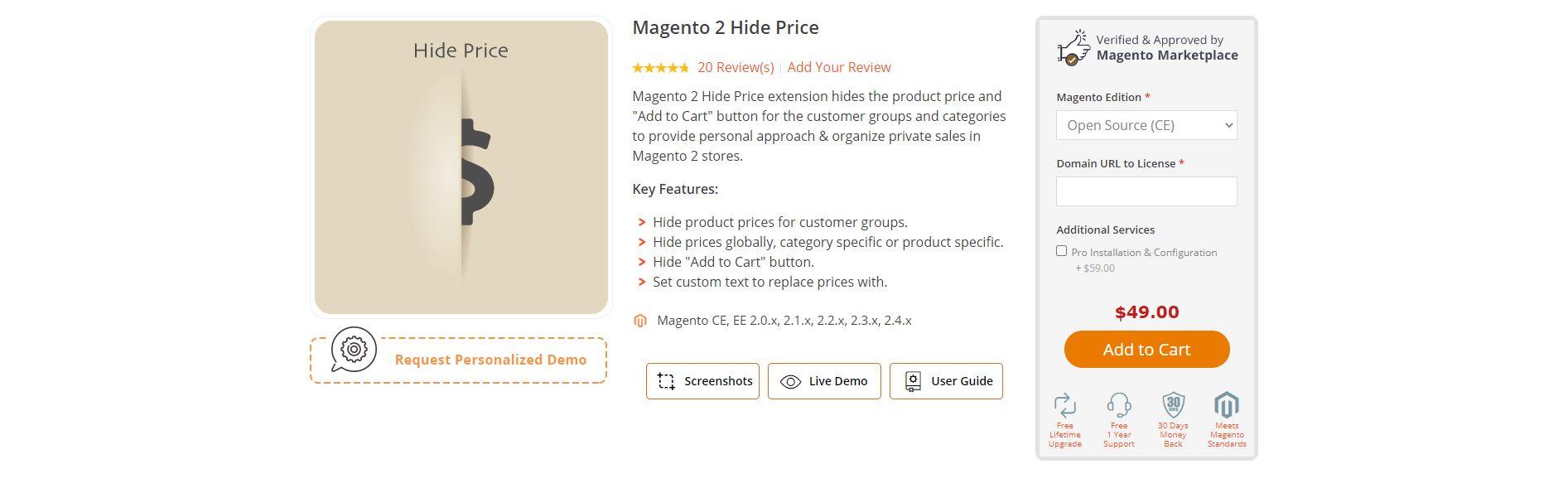 Magento hide price extension