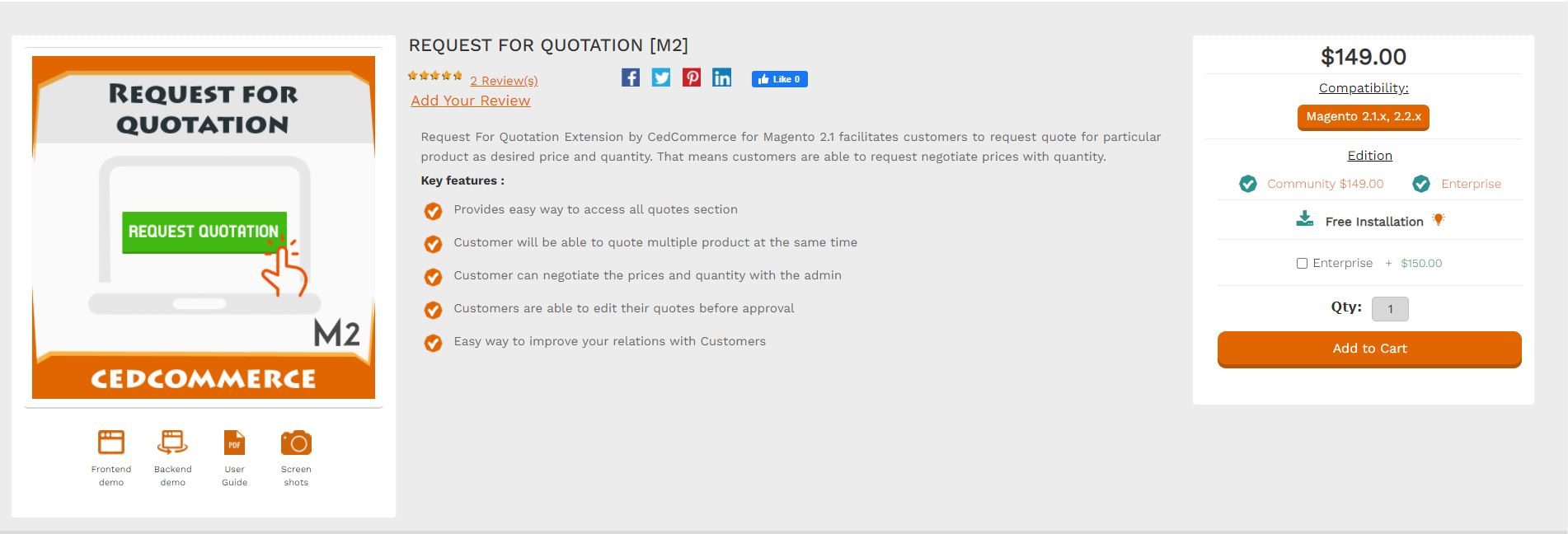 Magento quote extension