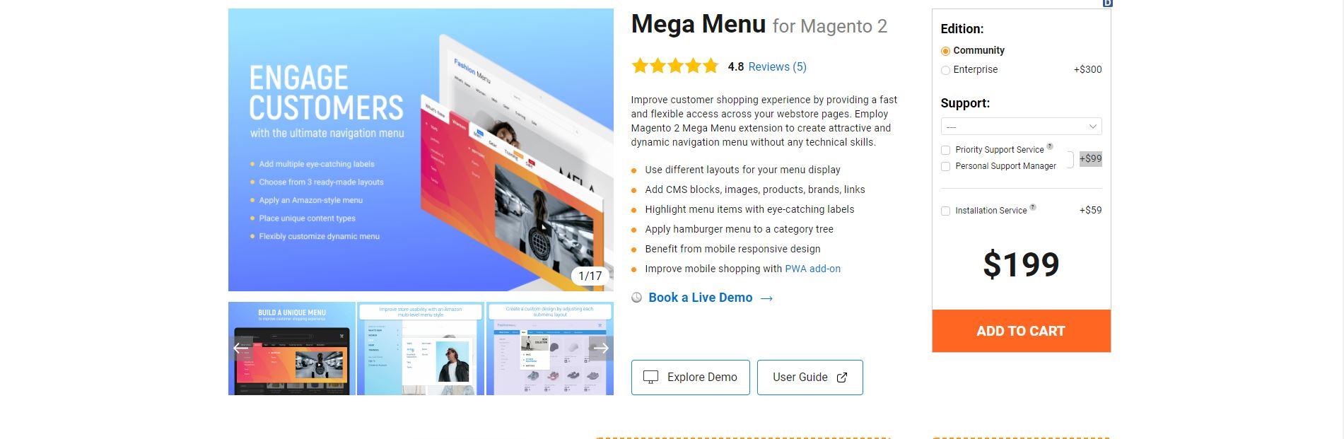 Magento mega menu extension