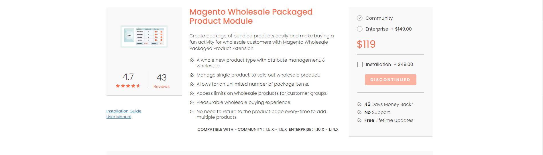 Magento wholesale extension