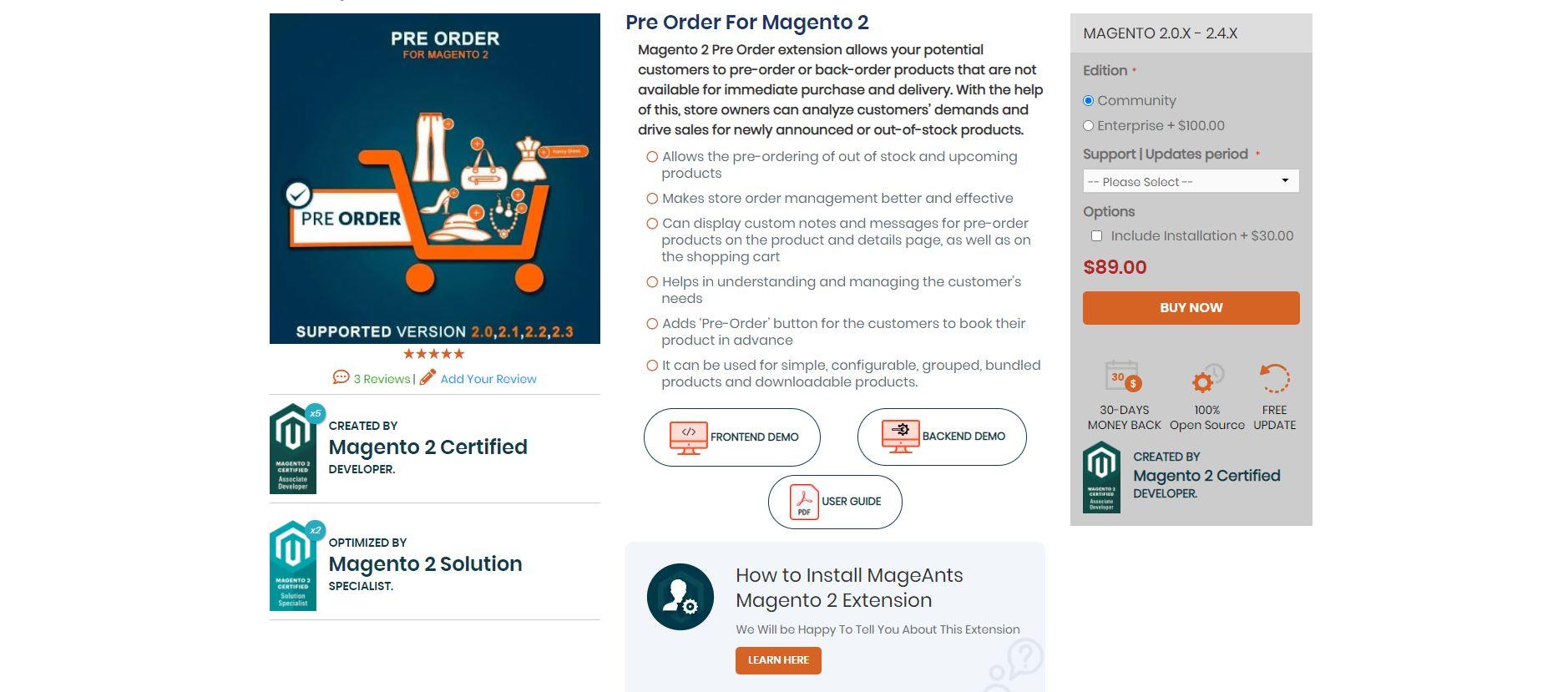 Pre-order extension Magento
