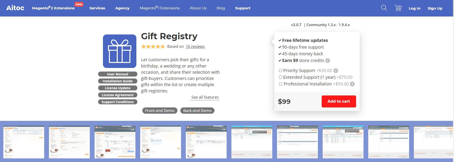 Magento gift registry extension