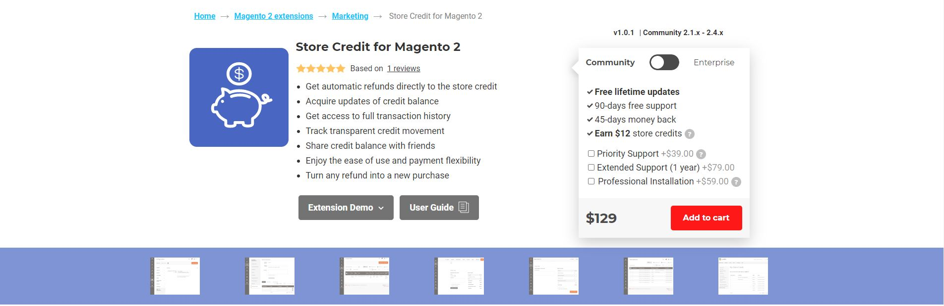 Magento store credit extension