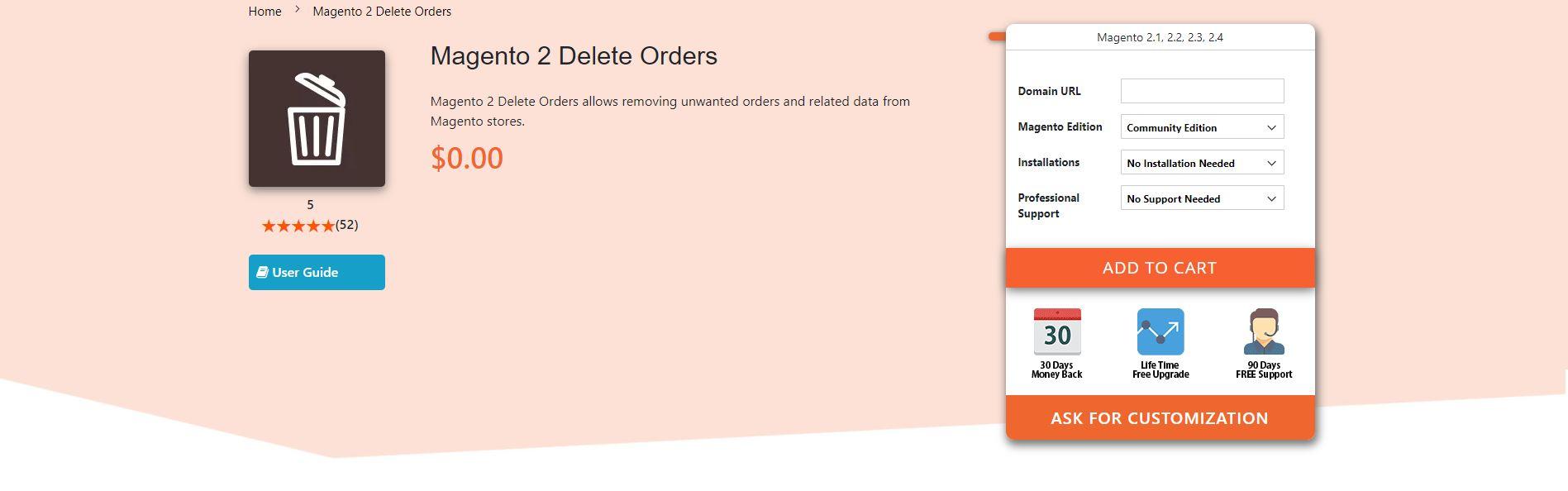 Magento Delete Order Extension