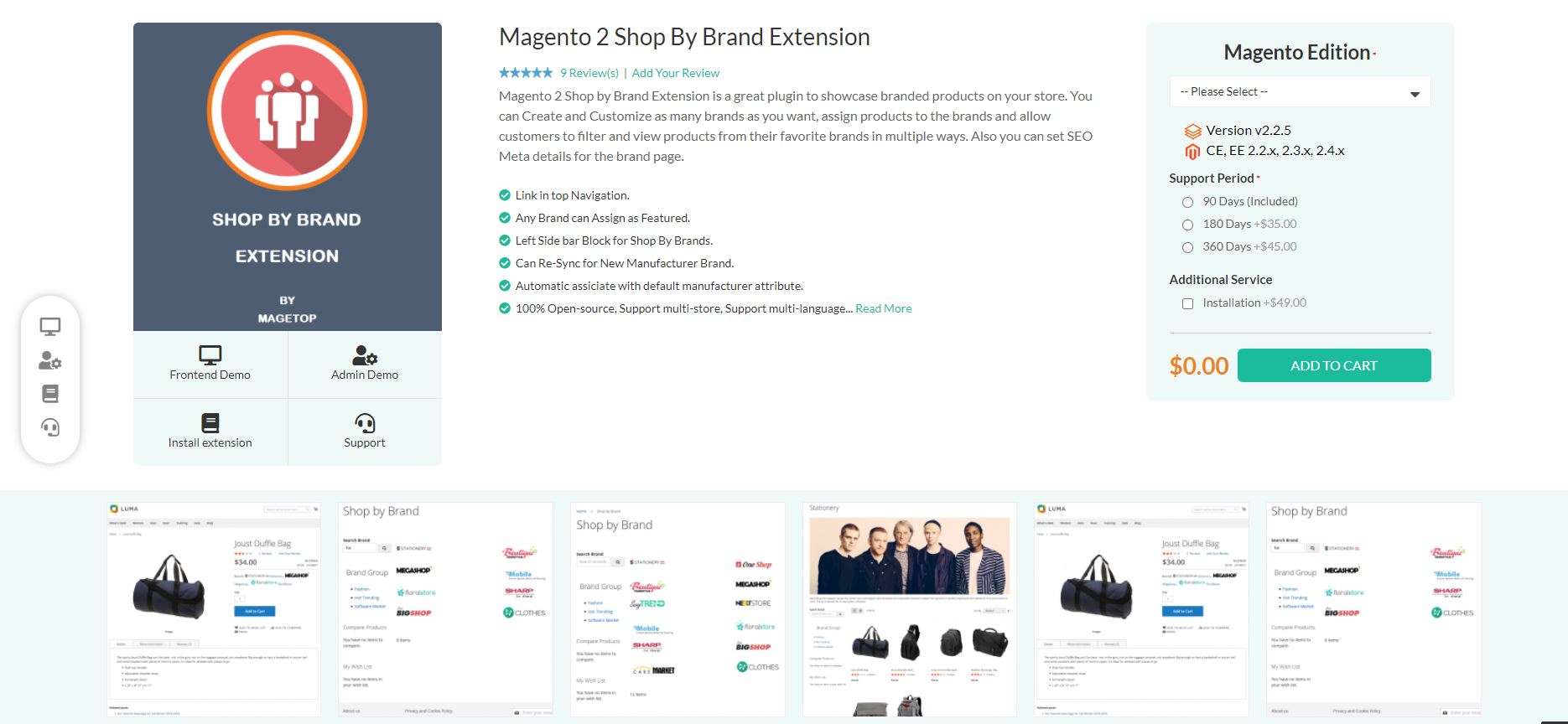 Shop by brand Magento extension