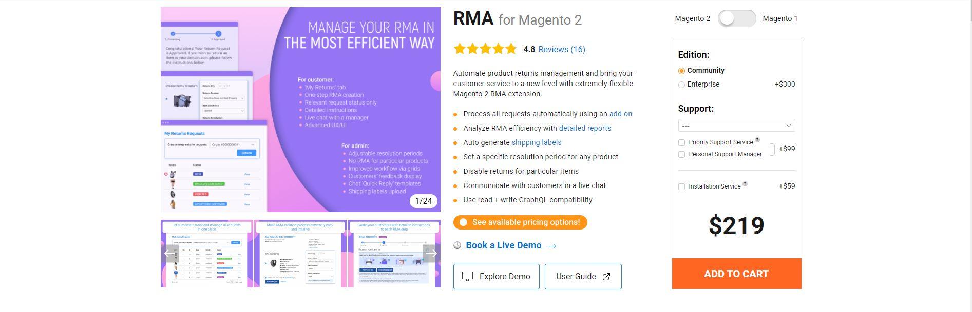 Magento RMA extension