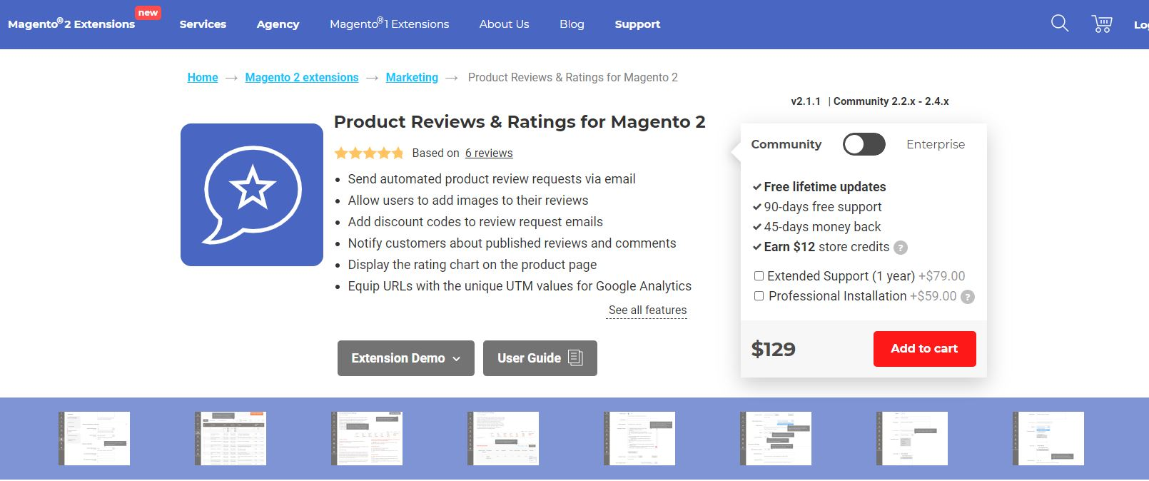 Magento review extension