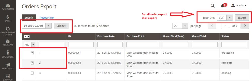 Order Import Export