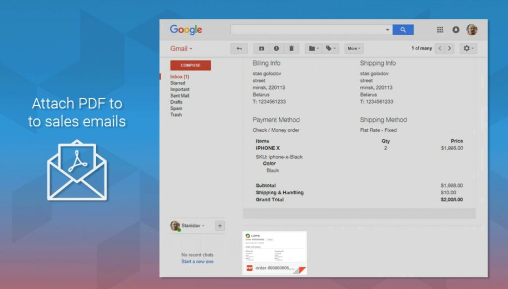 Attach PDF to emails