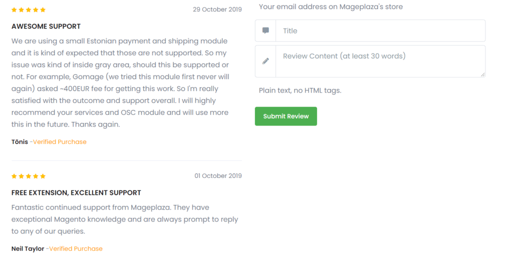 Reviews for MagePlaza extension
