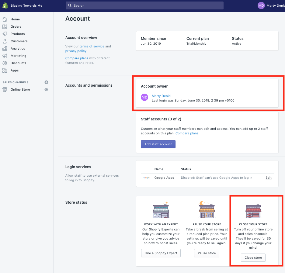 How to cancel shopify account