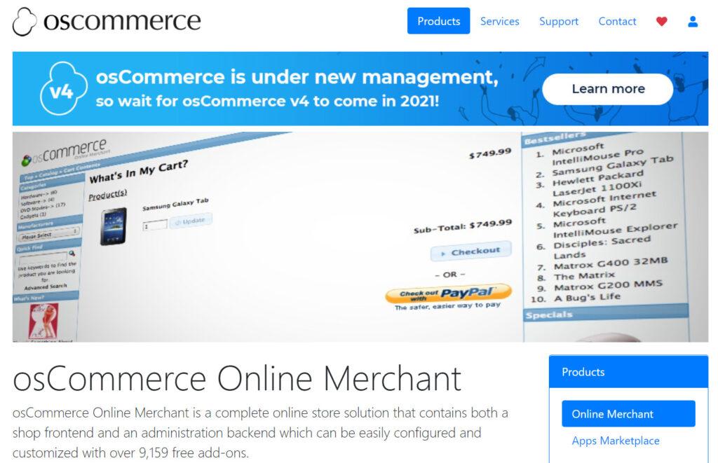 OsCommerce - open source eCommerce