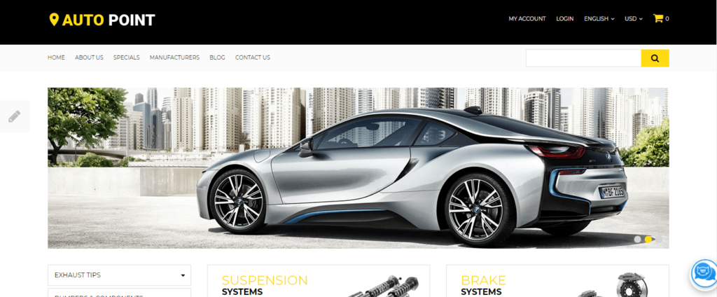 car parts Opencart ecommerce themes